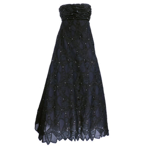 Vintage SCAASI 80s Black Strapless Lace Rhinestone Gown