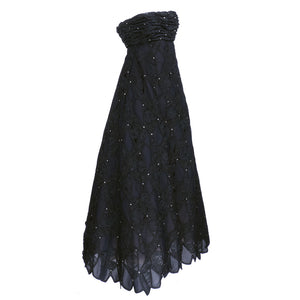 Vintage SCAASI 80s Black Strapless Lace Rhinestone Gown, side