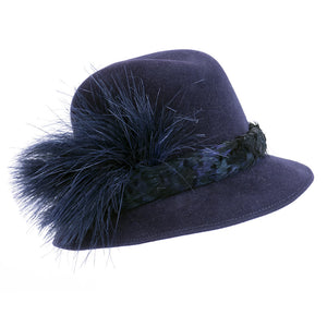 Vintage McCONNELL 80s Blue Felt Feather Fedora