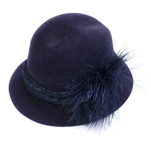 Vintage McCONNELL 80s Blue Felt Feather Fedora, side