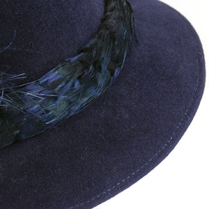 Vintage McCONNELL 80s Blue Felt Feather Fedora, detail