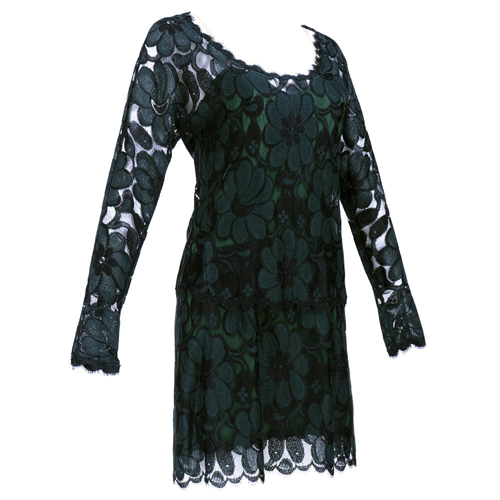 Vintage BEENE 80s Black & Green Lace Cocktail Dress