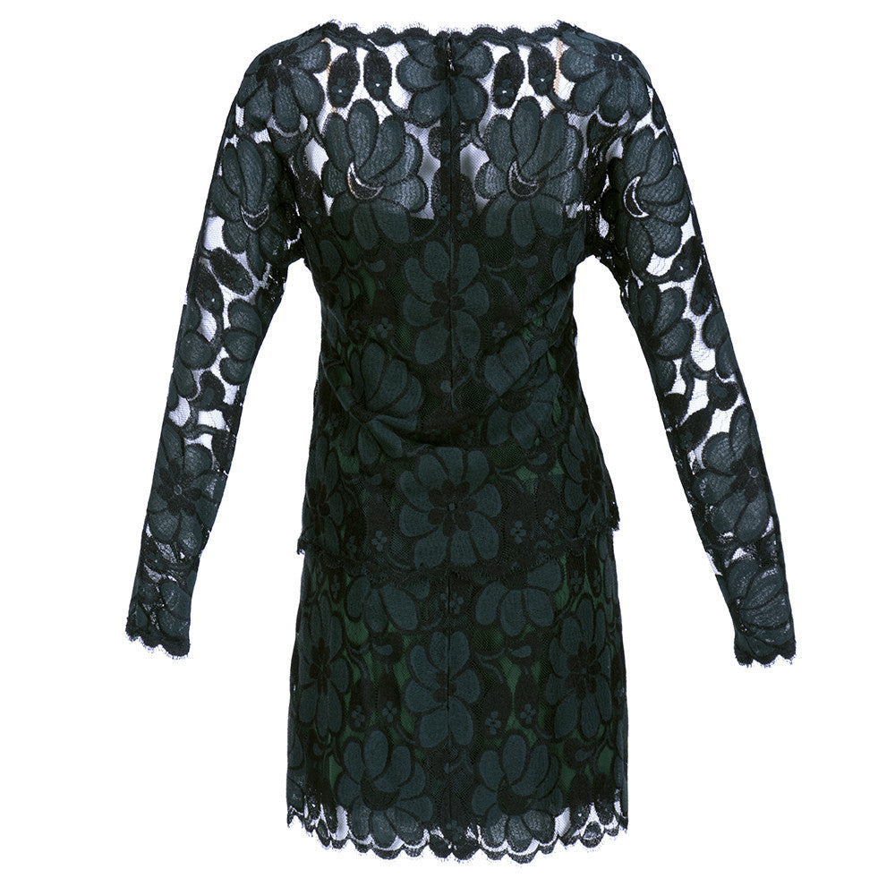 Vintage BEENE 80s Black & Green Lace Cocktail Dress, back