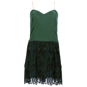 Vintage BEENE 80s Black & Green Lace Cocktail Dress, minidress