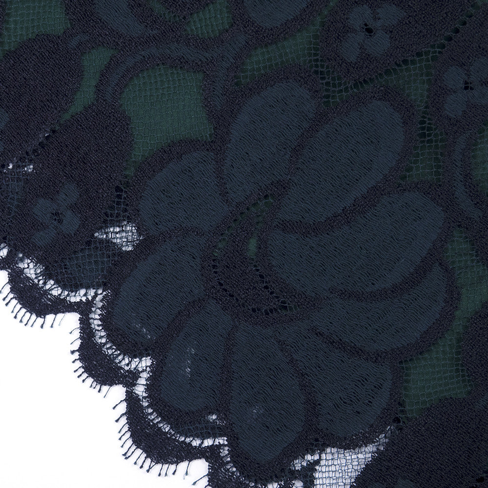 Vintage BEENE 80s Black & Green Lace Cocktail Dress, detail 1