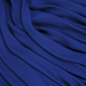 Vintage YSL 80s Navy Blue Ruched Jersey Ensemble, detail 2