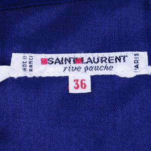 Vintage YSL 80s Navy Blue Ruched Jersey Ensemble, label