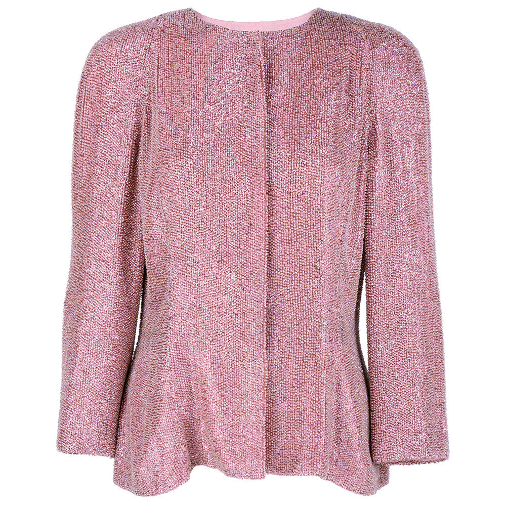 Vintage 80s Pink Solid Beaded & Sequin Evening Jacket