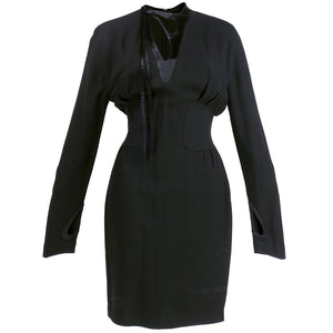 Vintage MUGLER 90s Black Peek-A-Boo Dress