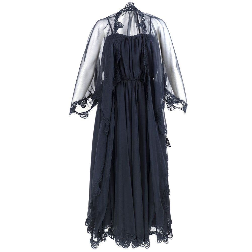 Vintage FRANK USHER 70s Black Chiffon Evening Dress