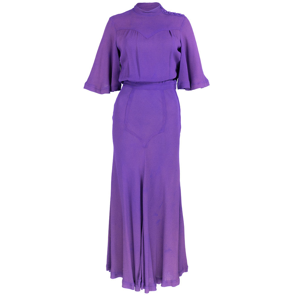 Vintage CLARK 70s Purple Moss Crepe Maxi Dress 1 of 6