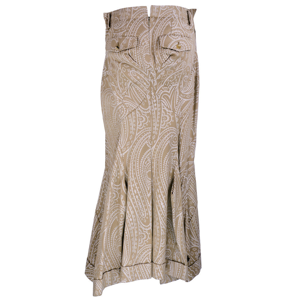 COMME DES GARCONS Taupe Paisley Jacquard Skirt, back