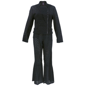 Vintage GALLIANO 90s Black Cotton Eyelet Pant Ensemble