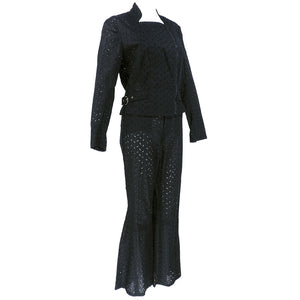 Vintage GALLIANO 90s Black Cotton Eyelet Pant Ensemble, SIDE