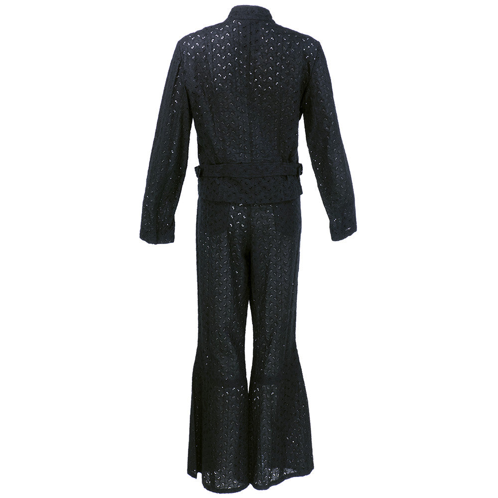 Vintage GALLIANO 90s Black Cotton Eyelet Pant Ensemble, BACK
