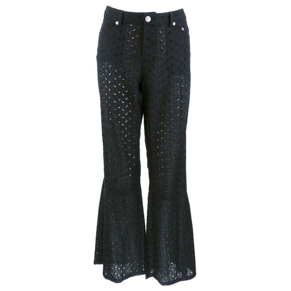 Vintage GALLIANO 90s Black Cotton Eyelet Pant Ensemble, PANTS