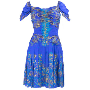 Vintage ZANDRA RHODES 90s Blue Silkscreened Dress