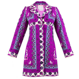 Vintage PUCCI 60s Magenta Print Coat Dress