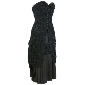 Vintage ADRIAN 40s Black Lace Strapless Cocktail Dress, side