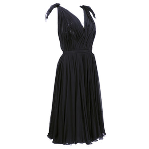 ALEXANDER MCQUEEN Black Swan Chiffon Cocktail Dress, side