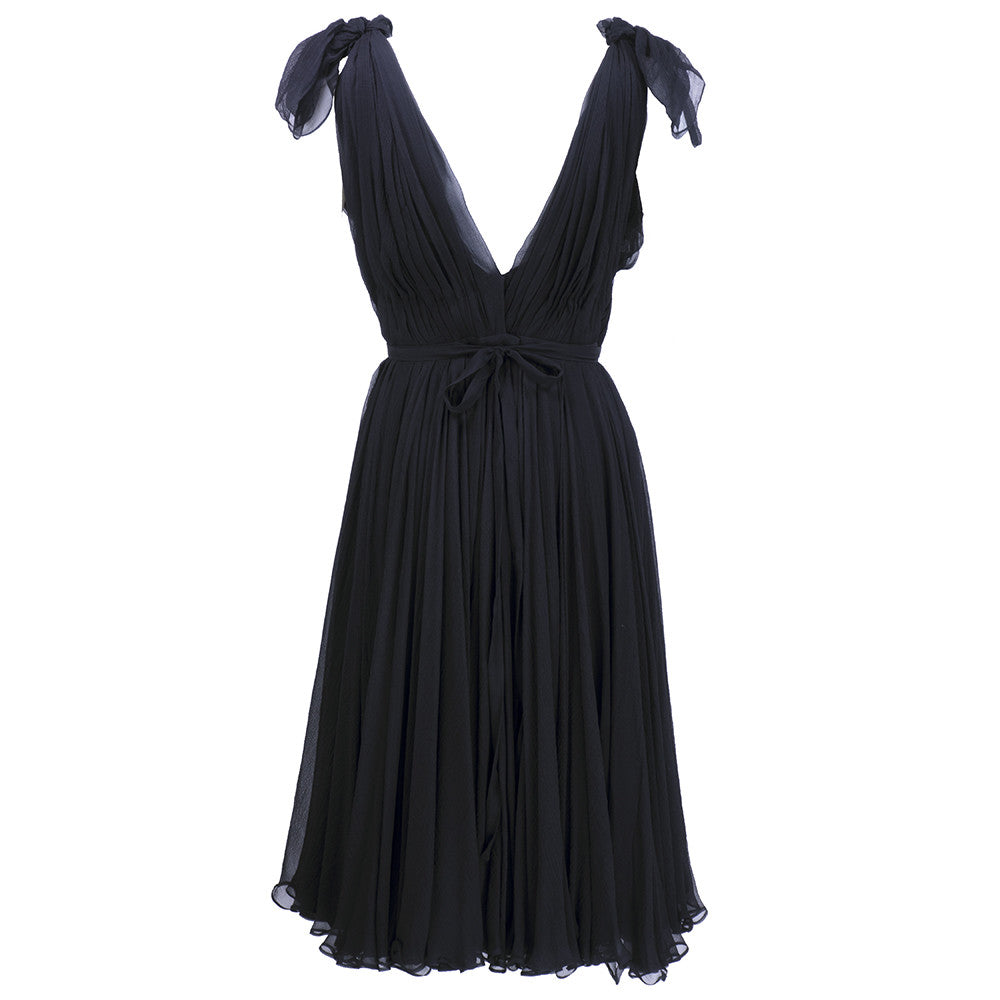 ALEXANDER MCQUEEN Black Swan Chiffon Cocktail Dress, back