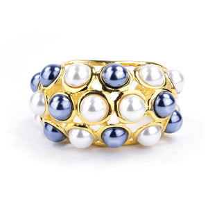 KENNETH JAY LANE Two-Tone Faux-Pearl Encrusted Cuff