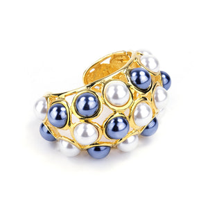 KENNETH JAY LANE Two-Tone Faux-Pearl Encrusted Cuff, side