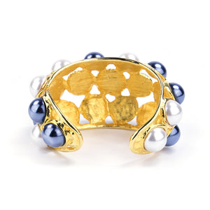 KENNETH JAY LANE Two-Tone Faux-Pearl Encrusted Cuff, back