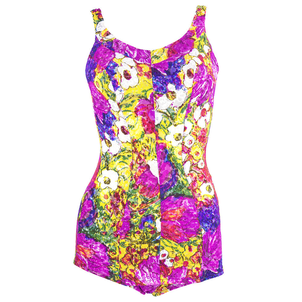 Vintage REID 60s Abstract Acid Floral Swimsuit
