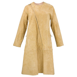 Vintage 70s Natural Suede Zipper Minidress