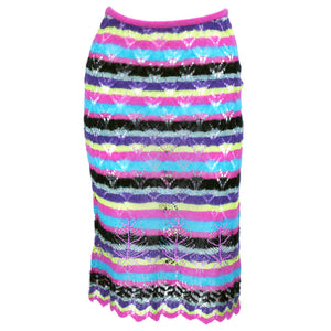 Vintage LACROIX 90s Crochet Striped Ensemble, skirt