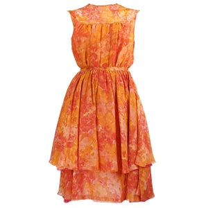 Vintage 60s Orange Chiffon Afternoon Dress