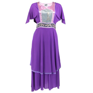 Vintage 70s Asian-Inspired Embroirdery Purple Peasant Dress, Marisa Martin