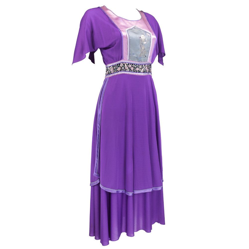 Vintage 70s Asian-Inspired Embroirdery Purple Peasant Dress, side. Marisa Martin