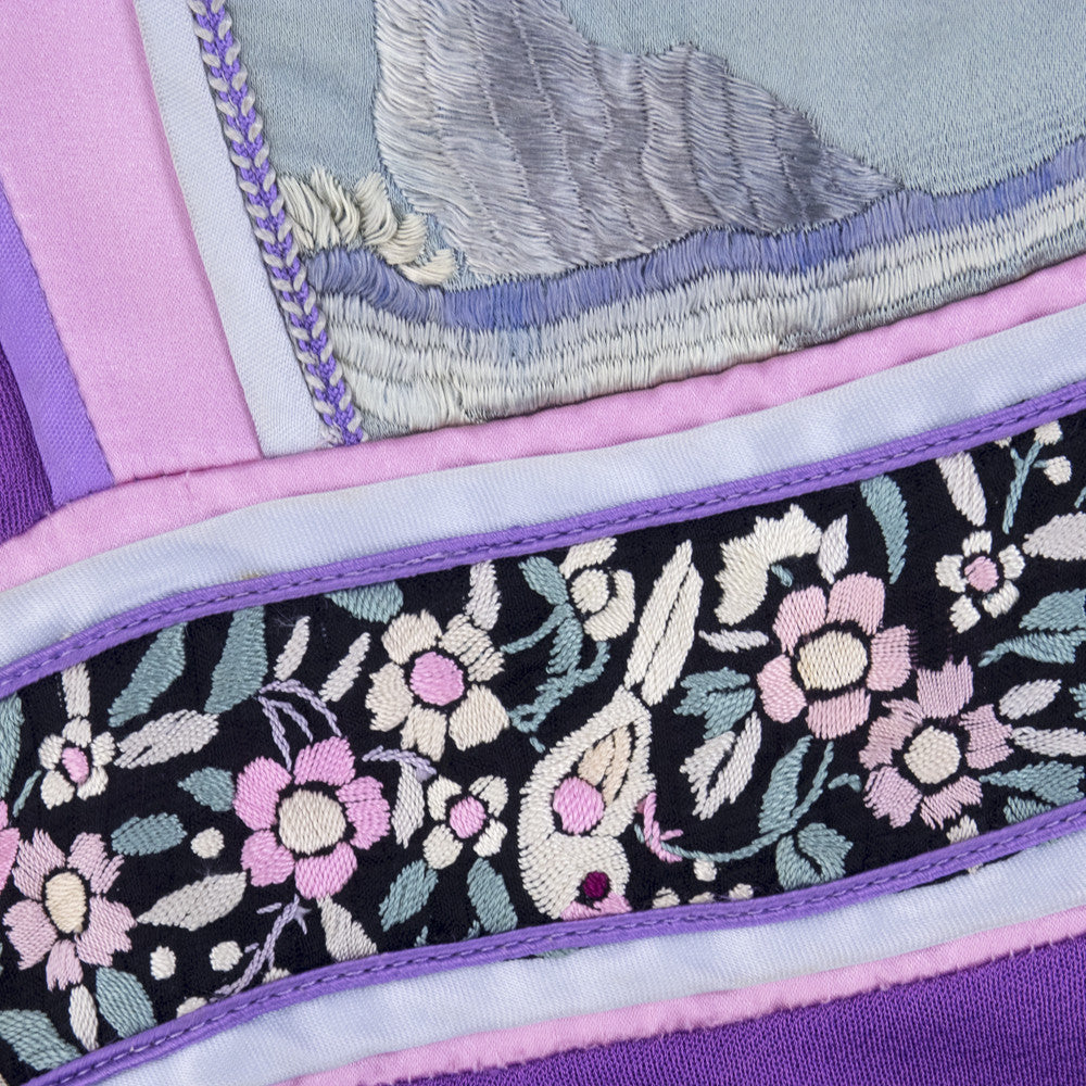 Vintage 70s Asian-Inspired Embroirdery Purple Peasant Dress, detail 3
