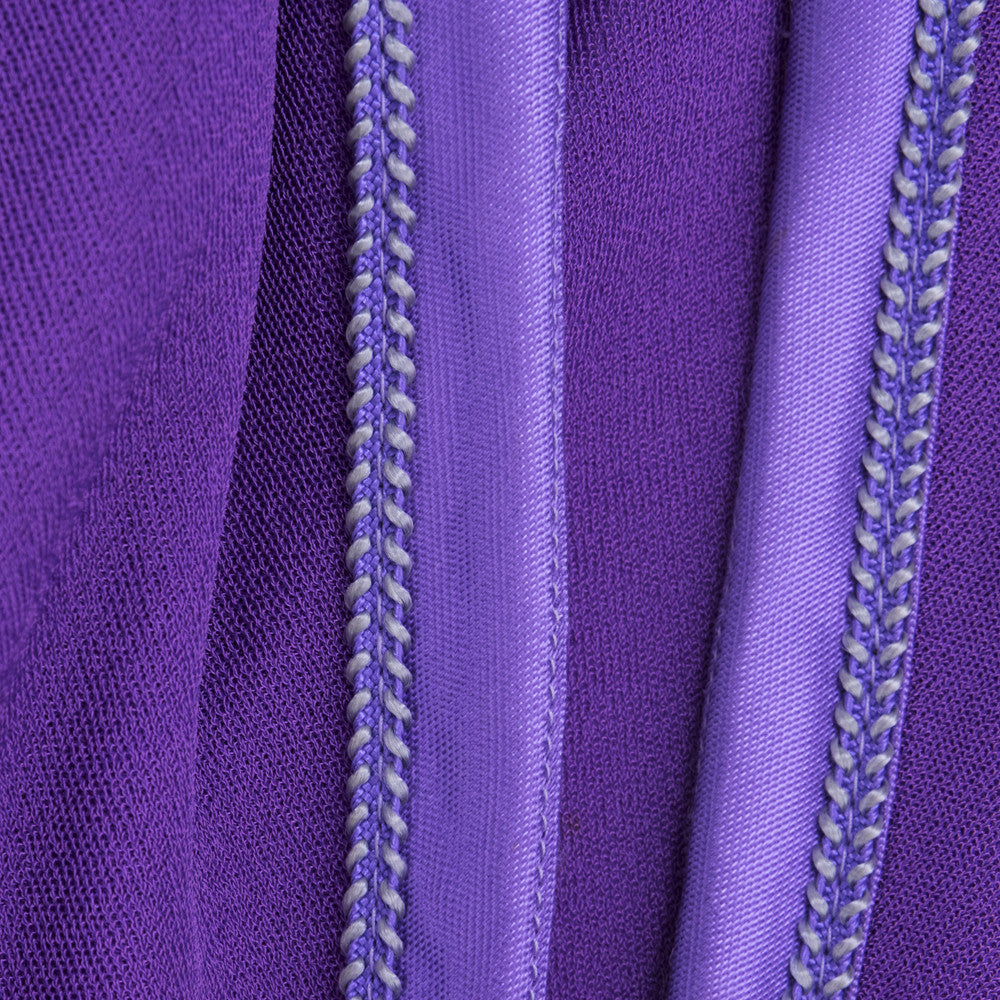 Vintage 70s Asian-Inspired Embroirdery Purple Peasant Dress, detail 2