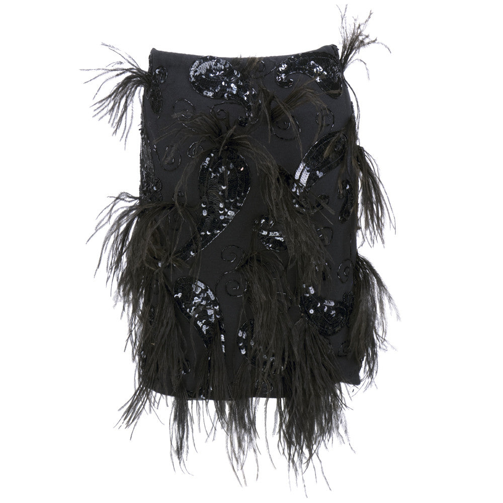 Vintage SANT'ANGELO 80s Sequin & Feather Skirt, back