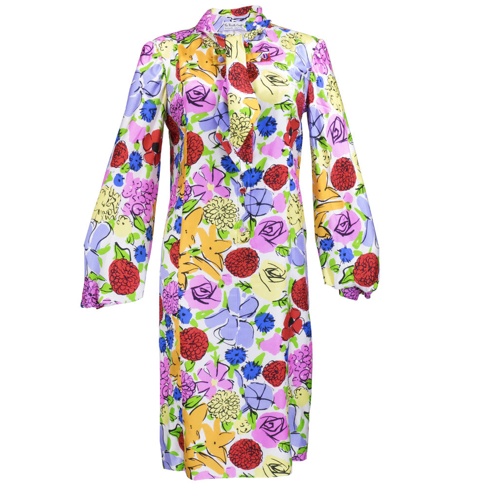 Vintage 60s Graphic Floral-Print Day Dress
