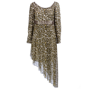 Vintage GALANOS 80s Animal-Print Asymmetrical Dress