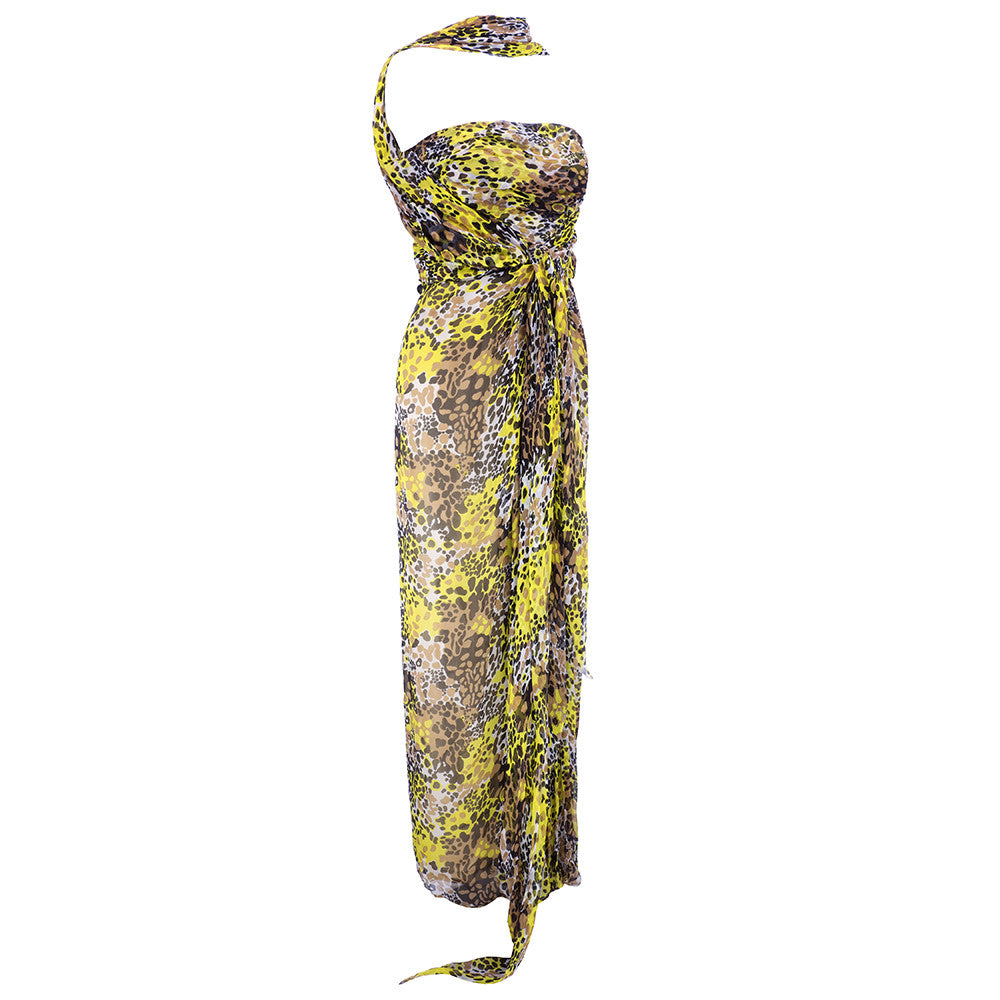Vintage BLASS 90s Animal-Print Goddess Gown, side
