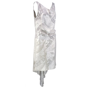 Vintage 20s Silver Floral Deco Lame Evening Dress, side