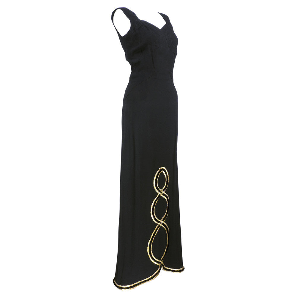Vintage CHEZ NINON 30s Black Crepe Bias-Cut Gown, side