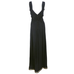 Vintage CHEZ NINON 30s Black Crepe Bias-Cut Gown, back