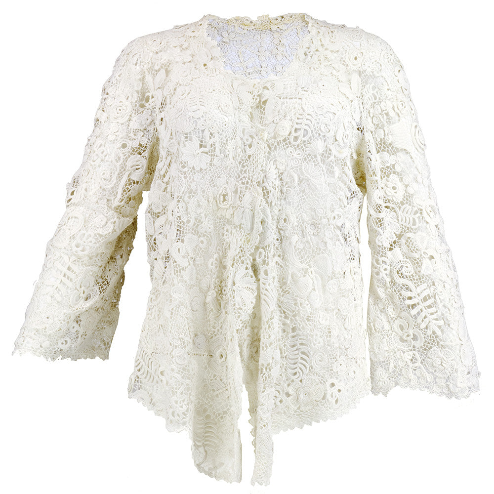 Vintage Edwardian Hand-Made White Irish Crochet Jacket
