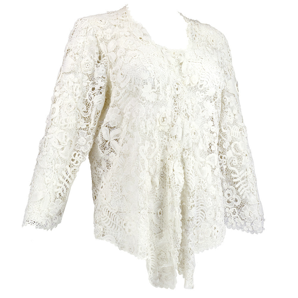 Vintage Edwardian Hand-Made White Irish Crochet Jacket, side