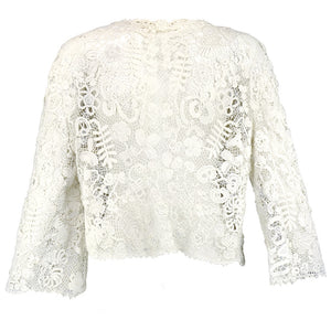 Vintage Edwardian Hand-Made White Irish Crochet Jacket, back