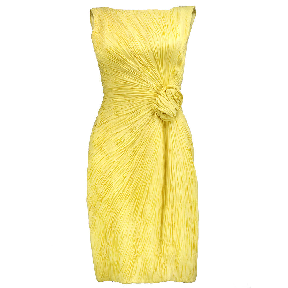 60s Unlabeled Yellow Chiffon Ruched Cocktail Dress front