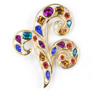 Vintage YSL 80s Flourished Rainbow Gem Brooch