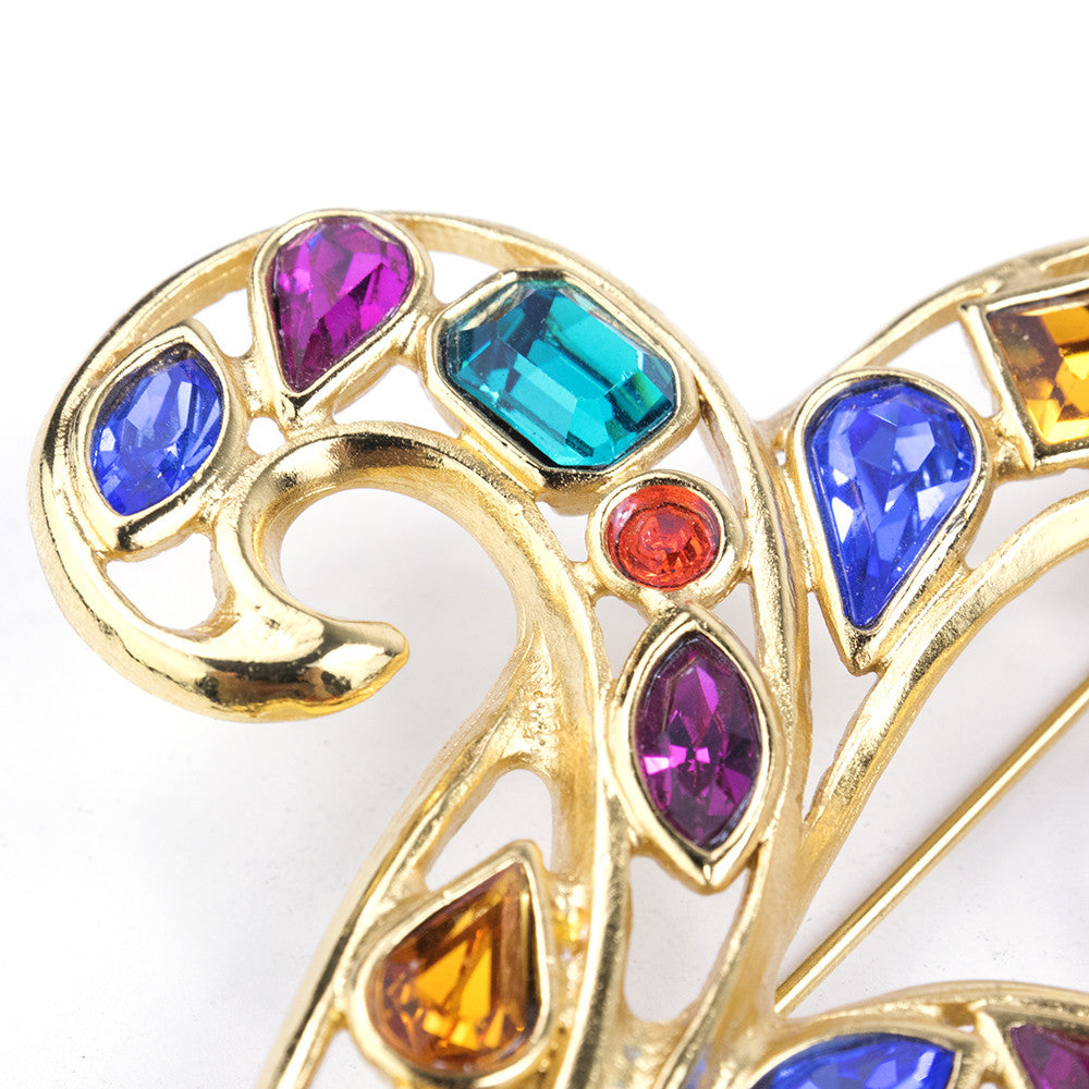 Vintage YSL 80s Flourished Rainbow Gem Brooch, detail 1