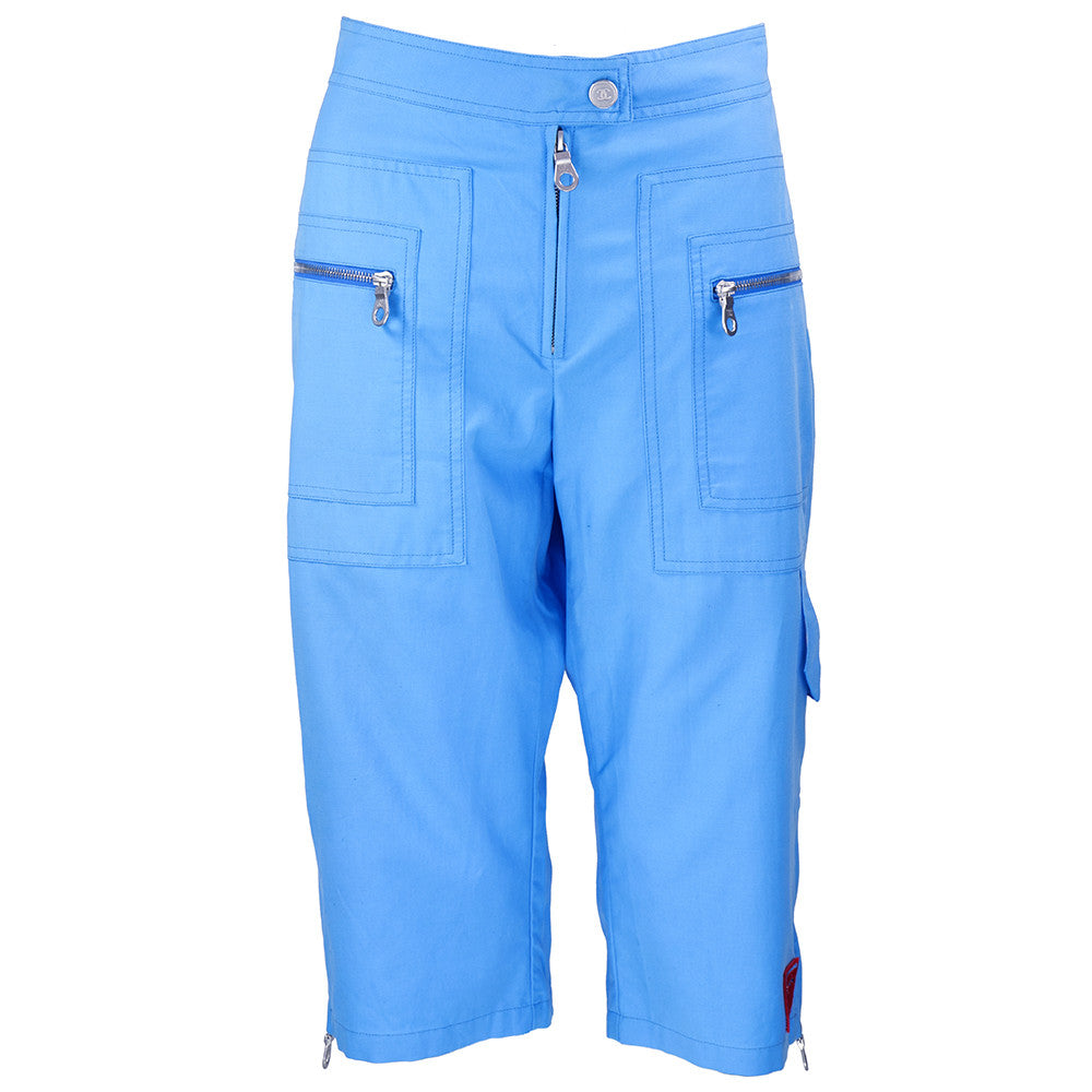 CHANEL 90s Baby Blue Cargo Shorts front